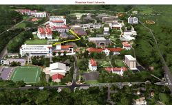 Montclair State University Campus Map highlighting the route from the Red Hawk Deck to University Hall and the Conference Center.