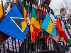 Image of flags from different countries on display at Worlds Fair Day at Montclair State University.