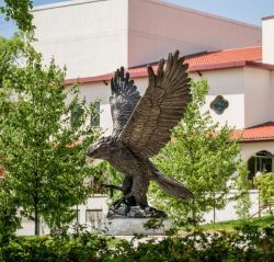 Hawk statue in front of Kasser Theater
