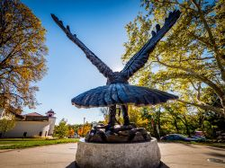 Photo of the Red Hawk statue located in front of College Hall