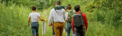 students hiking through brownfields