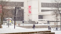 snowing on campus