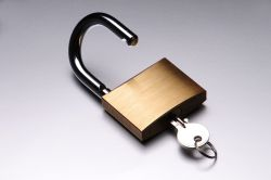 padlock opened with key