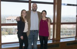 From left to right: April Kelly (MS in Earth and Environmental Science program), Richard James (PhD in Environmental Management program), and Christina Verhagen (BS in Earth and Environmental Science program) at the 10th Annual Montclair State University Student Research Symposium (not pictured: Mitchell Clay).