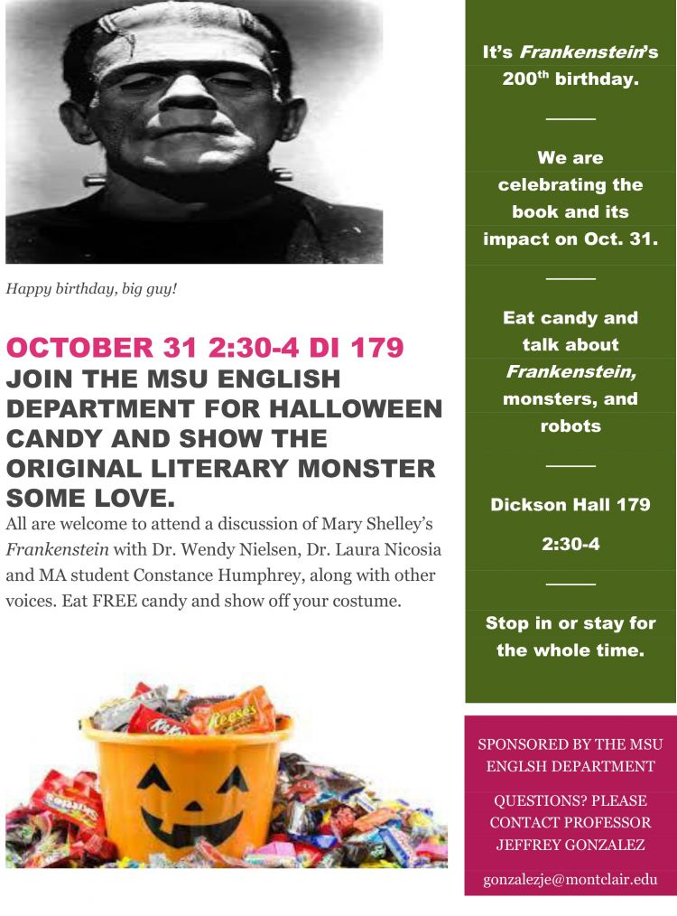 Celebrating Voices October 30th Your >> English Department Celebrates Frankenstein S Birthday English