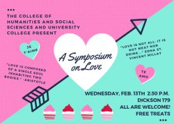 graphic with pink and teal background on 2/13 event, Symposium on Love