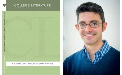"headshot of Professor Jeff Gonzalez and cover of ""College Literature"" Journal"