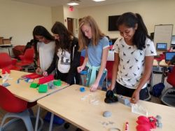 Girls in Weston Science Scholars lab