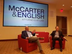 Calacanis being interviewed by David Sorin, of McCarter & Englis