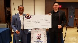 Jonathan Morgan, left, and Brett Siegmeister won third place in the UPitchNJ collegiate entrepreneurship contest held April 26 at Seton Hall University.