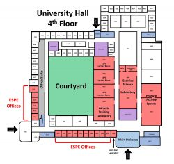 Map of 4th floor of University Hall showing lab locations.