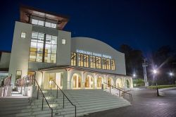 Kasser Theater exterior at night