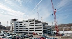 A view of the new parking deck under construction in early February, 2010.