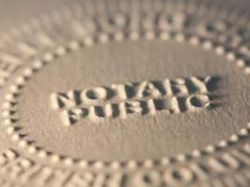 Close-up of notary seal