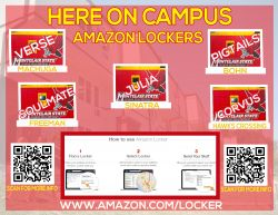 Flyer detailing locations of Amazon lockers on campus.
