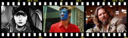 Collage film strip-style image including video stills from the films: Pierrot le Fou, Pandora's Box, and The Big Lebowski.