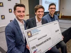 From left, George Garcia, Jacob Gilbert and Matthew Szot celebrate their $50,000 first-place prize in the BulbHead.com Inventors Day for Aspiring Entrepreneurs.