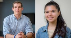 Samuel Hall and Portia Calo, recipients of NJM Sustainability Awards.