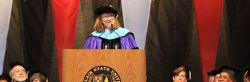 Dean Joan Ficke speaking at convocation