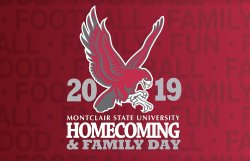 Graphic of Homecoming 2019 with red background
