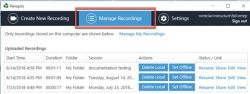 Screenshot of the Manage Recordings button on Panopto for PC