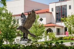 Photo of the red hawk statue with Kasser Theater in the background.