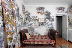 room with beautifully patterned wallpaper
