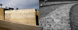 "Background images from Lima, Peru. Half of the image the entrance sign for ""Lugar de la Memoria: La Tolerancia y La Inclusion Social"" and the other is a black and white close up of stones with people's names and dates enscribed."