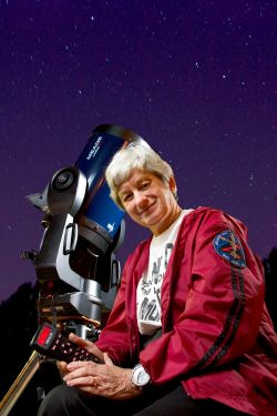 Mary Lou West with telescope