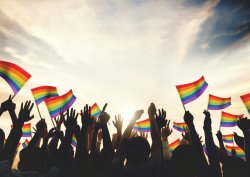 Hands raised with rainbow flags