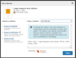 library catalog item record citation option displayed (with dropdown for MLA style)
