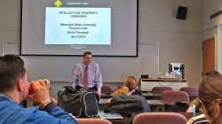 David Postoski talks to students regarding Intellectual Property