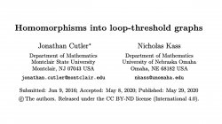 Homomorphisms into Loop-Threshold Graphs by Jonathan Cutler and Nicholas Kass
