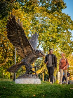 Red Hawk Statue & Students