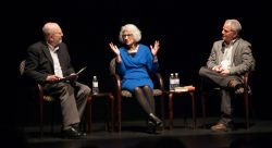 "The ""Guantanamo Diary: A Reading and Conversation"" panel, from left, moderator Leonard Lopate, attorney Nancy Hollander and editor Larry Siems."