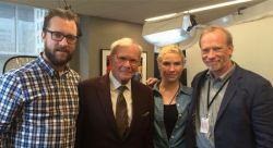"Steve McCarthy (far right) with NBC television journalist Tom Brokaw (center), who was interviewed for ""Citizen Trump,"" and camera team Justin McCarthy (far left) and Alison McCarthy."