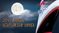 "Musical ""Anything Goes"" image showing a large ship on the water and a full moon with text ""2018 annual Scholarship Dinner"""