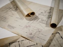 Photo of original blueprints of College Hall building on the Montclair State University campus.