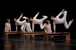 "Six students from Montclair State's BFA in Dance program performing ""To Have and To Hold"" on stage at the Kennedy Center."