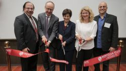 Alumnus Anthony J. Scriffignano, Board of Trustees Member Francis M.C. Cuss, President Susan A. Cole, College of Science and Mathematics Dean Lora Billings, and Department of Computer Science Chair Constantine Coutras, cutting the ribbon to open the new CCIS building