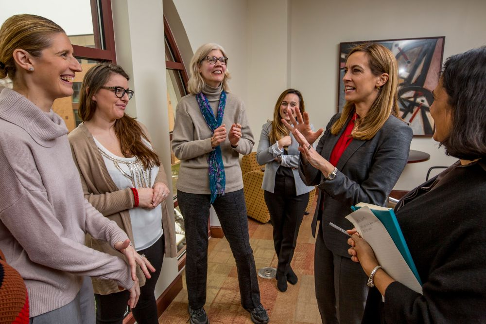 NJ Congresswoman Mikie Sherrill chats with several of the furloughed federal workers.