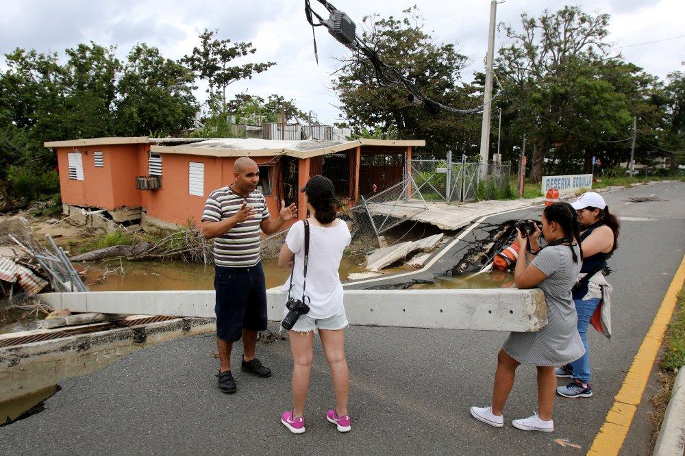 Student film crew in Puerto Rico filming man