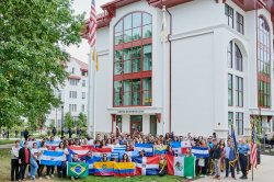 Students with Latin American country flags