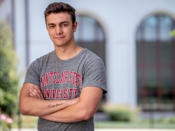 Griffin Shoemaker, a Musical Theatre major from Texas, is among the first out-of-state students to receive Montclair State's new National Student Scholarship.