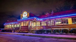 Photo of Montclair State University's iconic Red Hawk Diner