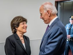 Montclair State University President Susan A. Cole meets then Vice-President Joseph Biden in 2018