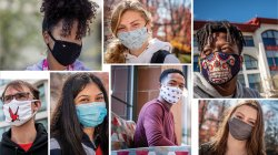 collage of students wearing masks on campus