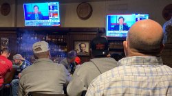 WASHINGTON TOWNSHIP, Nov. 3, 2020: Watching the results at a restaurant on election night