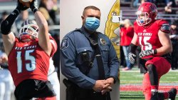 Photo collage of Police Officer Nick Volpe in uniform and playing football