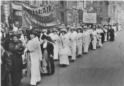 Historical photo of Montclair suffragettes march for voting rights in 1912